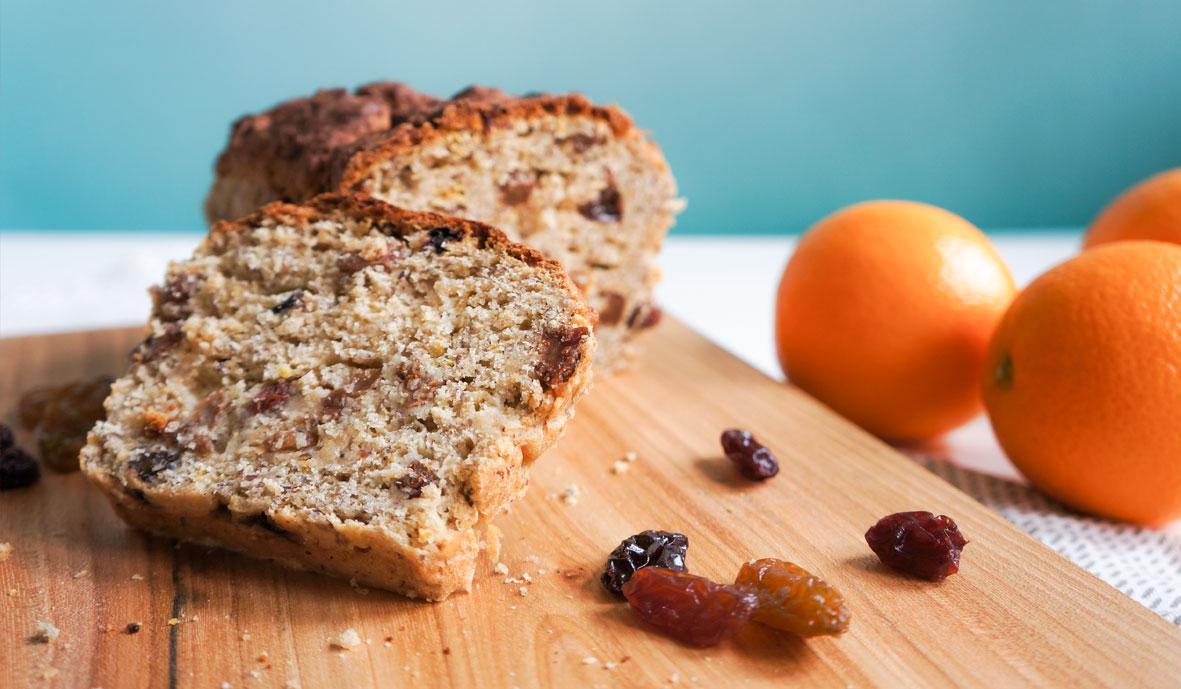 Gluten free bread with orange & raisins
