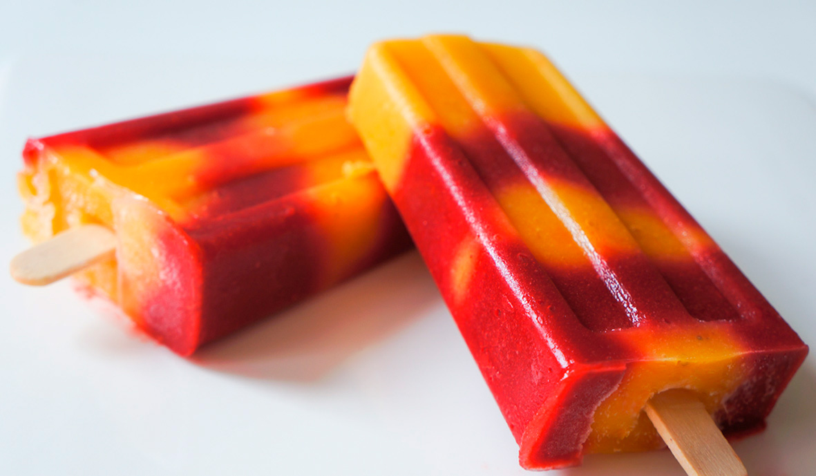 2 juices, mixed or made into ice pops