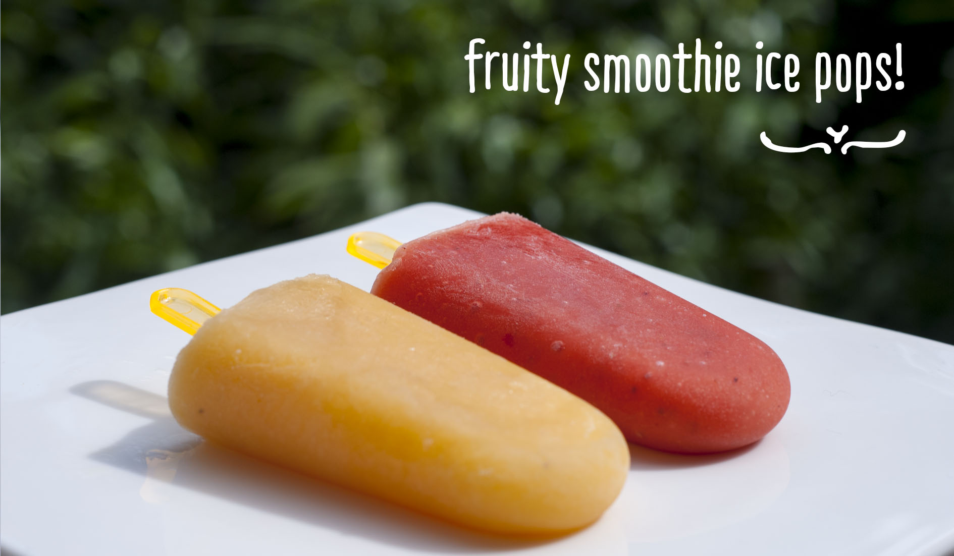 Homemade fruity smoothie ice pops