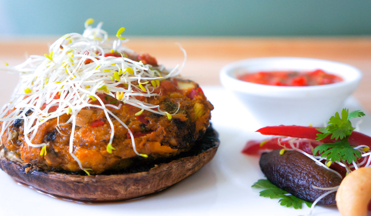 Pumpkin burgers & home made chili salsa