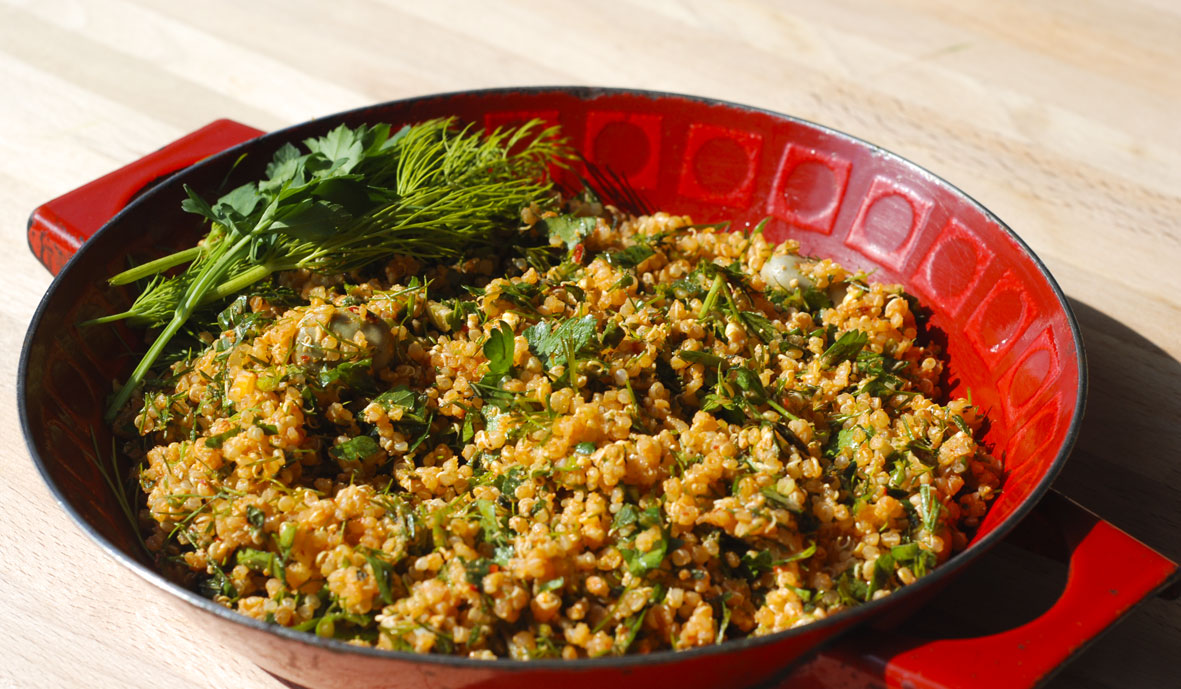Enamel bowl filled with quinoa salad