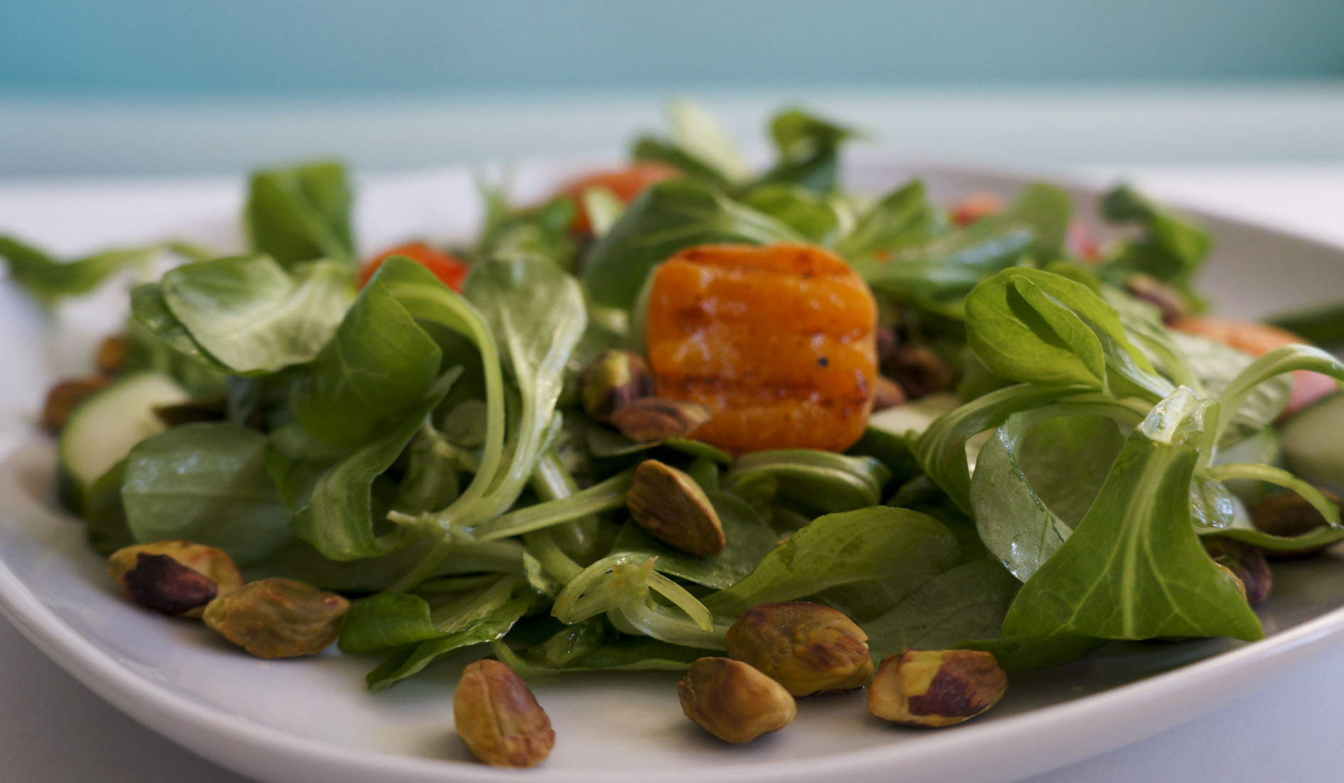 Rose salad, with apricot and pistachio